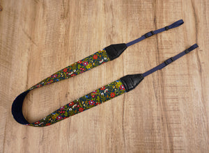 red blue flowers camera strap-2