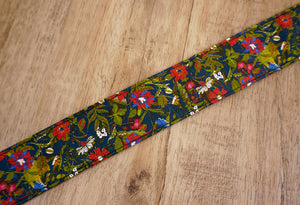 red blue flowers camera strap-6