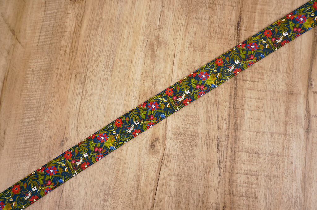 red blue flowers camera strap-7
