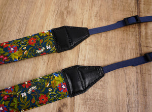 red blue flowers camera strap-3