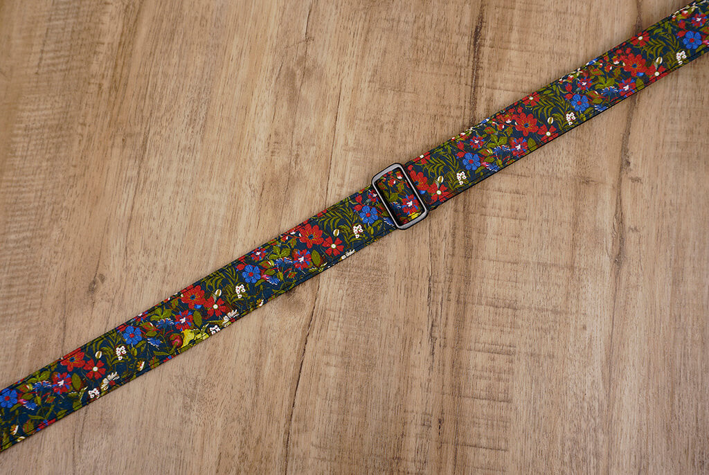 red blue flowers ukulele strap