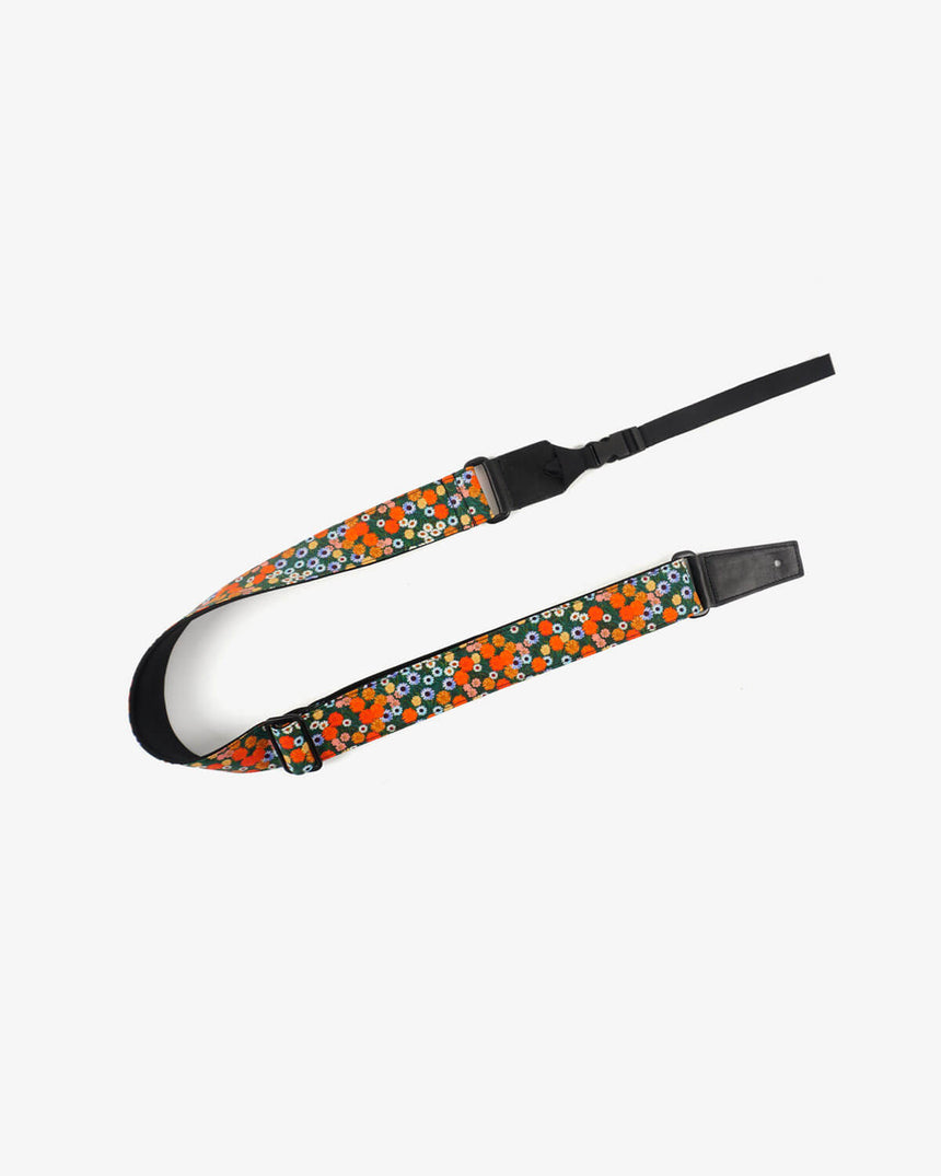 ukulele shoulder strap with red daisy floral printed-front-1