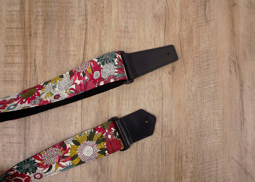 art red sunflower guitar strap for girls with leather ends -3