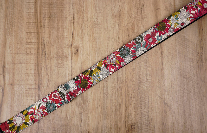 art red sunflower guitar strap for girls with leather ends -5