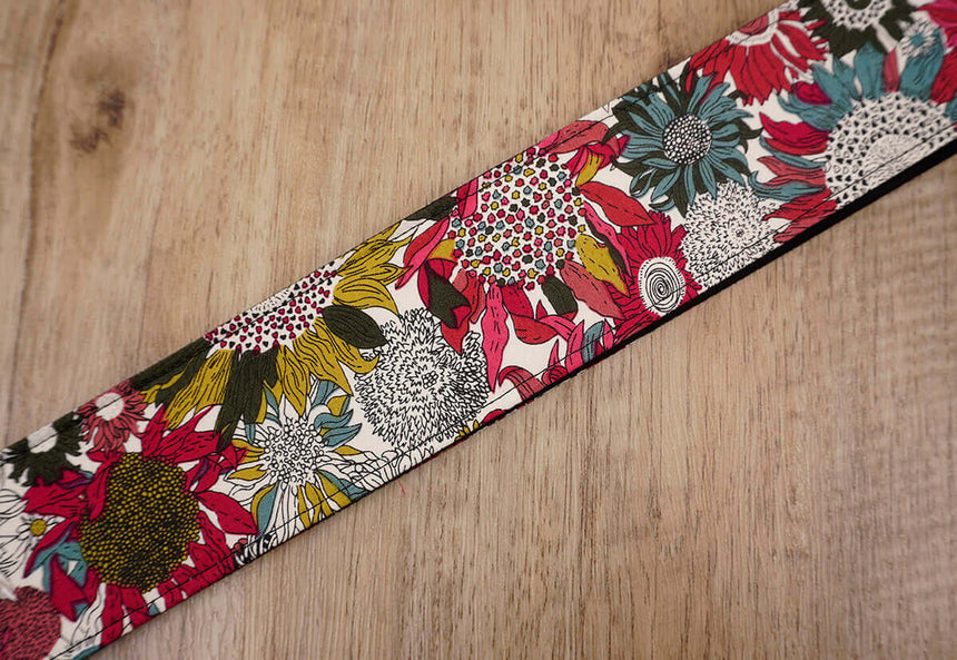 art red sunflower guitar strap for girls with leather ends -6