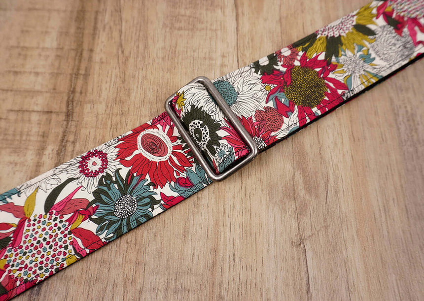 art red sunflower guitar strap for girls with leather ends -7