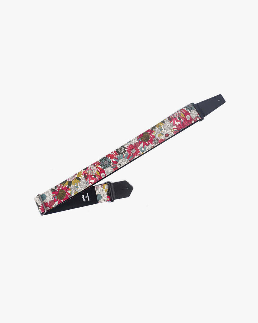 art red sunflower guitar strap for girls with leather ends -1