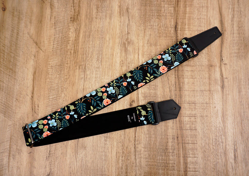 colorful rose guitar strap with leather ends-2