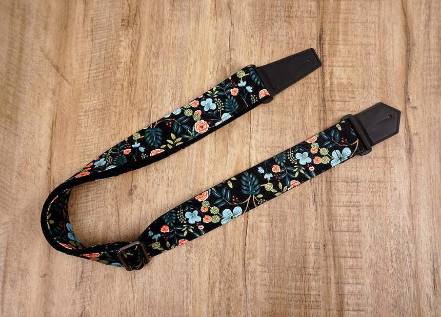 colorful rose guitar strap with leather ends-3