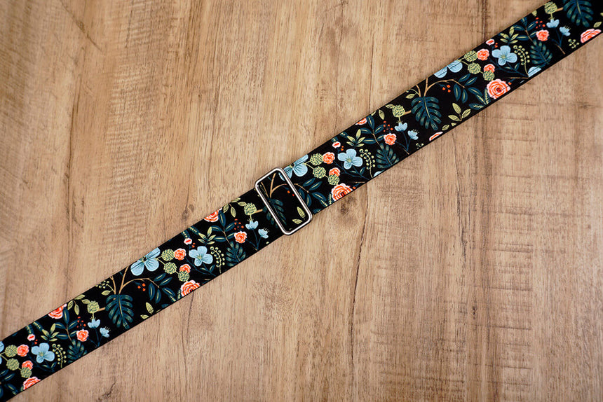colorful rose guitar strap with leather ends-4