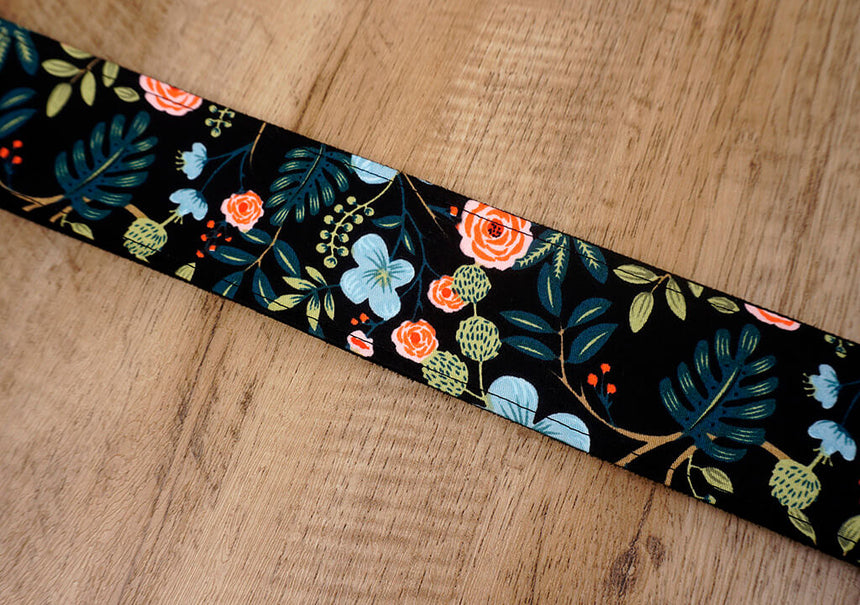 colorful rose guitar strap with leather ends-5