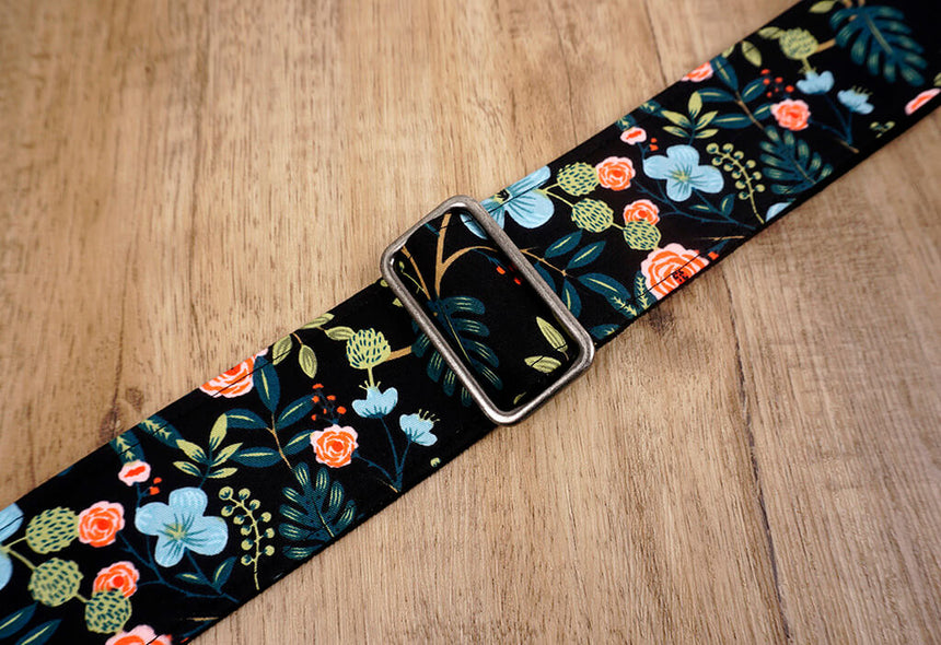 colorful rose guitar strap with leather ends-6