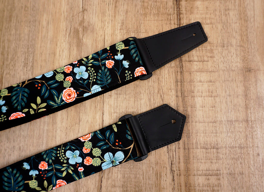 colorful rose guitar strap with leather ends-7