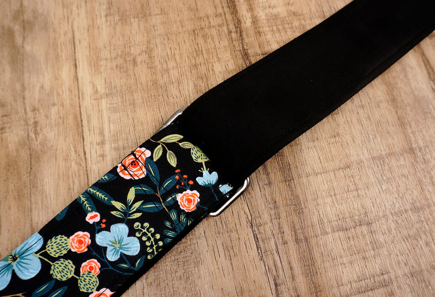 colorful rose guitar strap with leather ends-8
