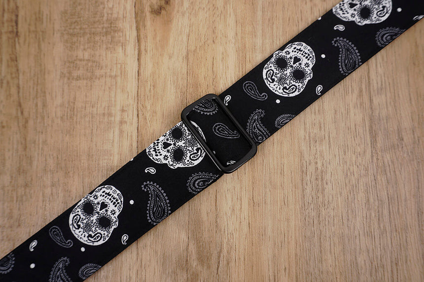 Paisley Skull clip on ukulele hook strap, no drill, no button-4