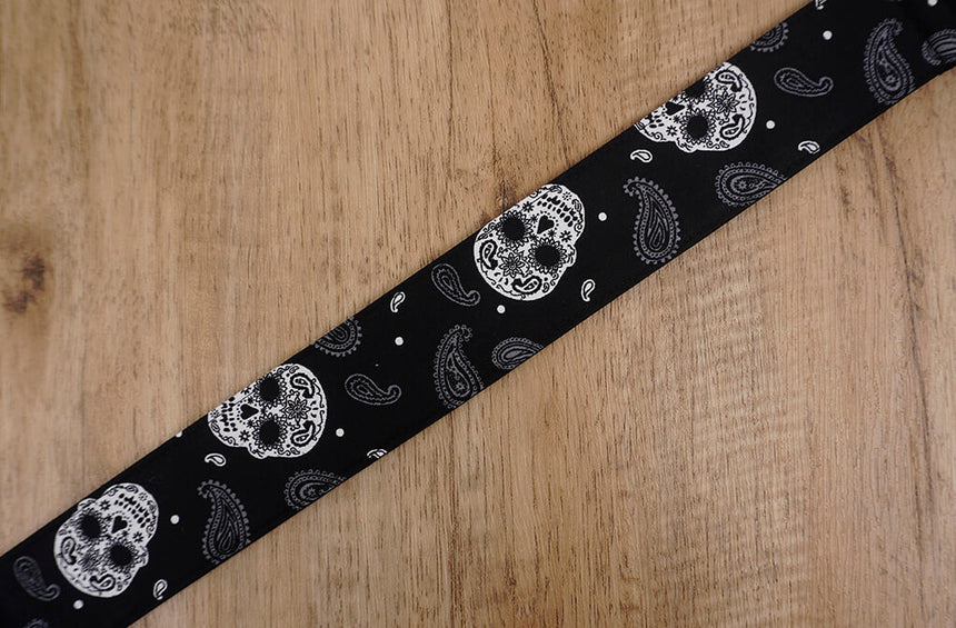 Paisley Skull clip on ukulele hook strap, no drill, no button-5
