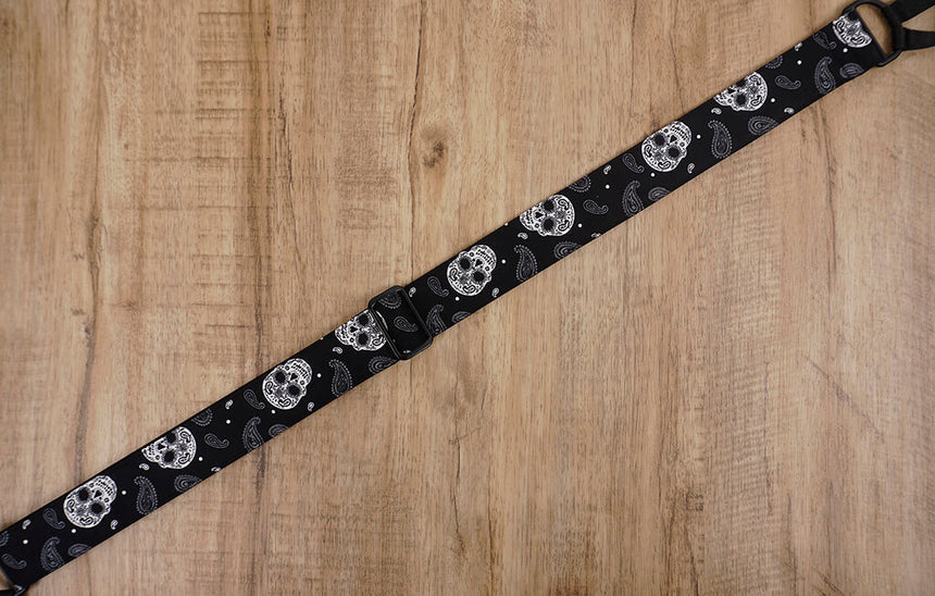 Paisley Skull clip on ukulele hook strap, no drill, no button-8