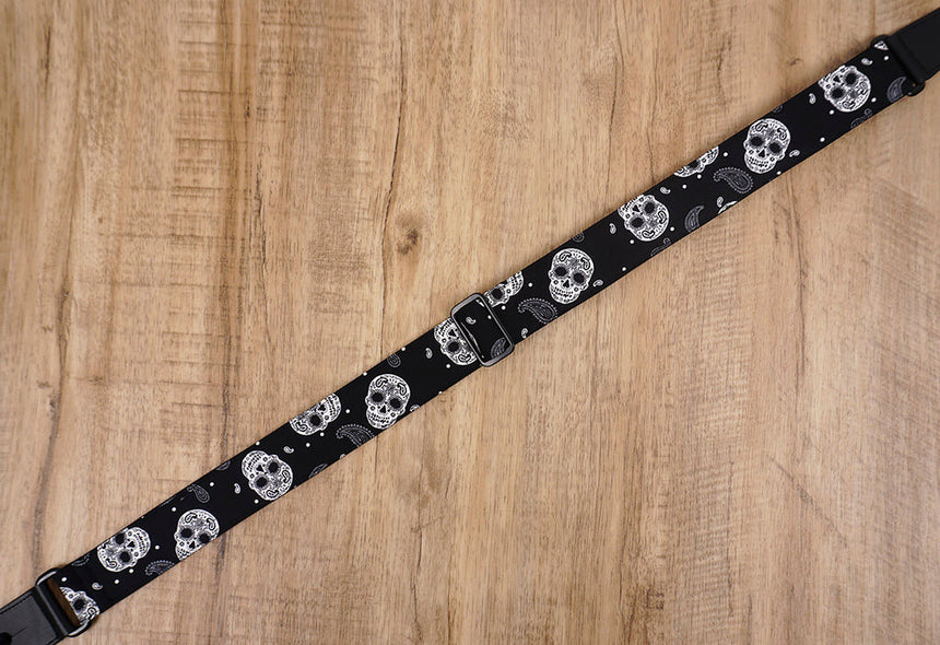 Paisley and Sugar Skull ukulele shoulder strap with leather ends-5