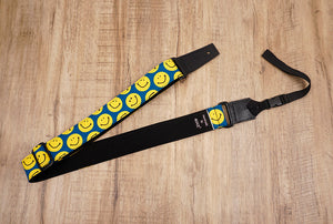 yellow smiley face emoji ukulele shoulder strap with leather ends-2