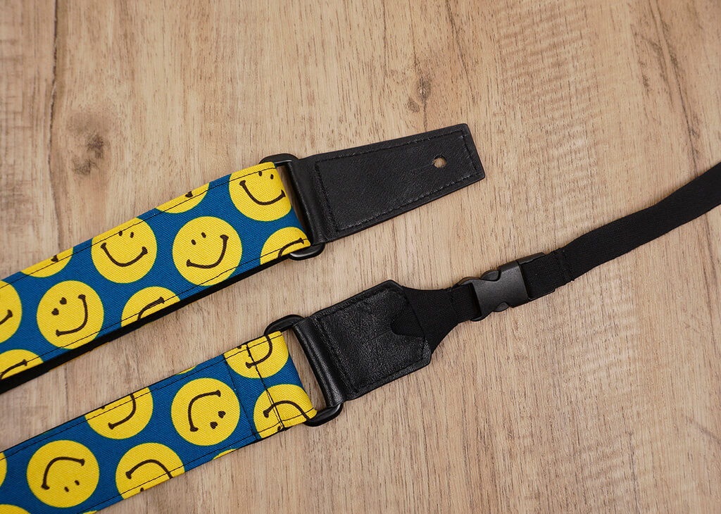 yellow smiley face emoji ukulele shoulder strap with leather ends-3
