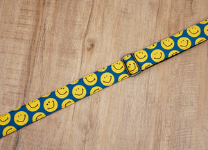 yellow smiley face emoji ukulele shoulder strap with leather ends-4