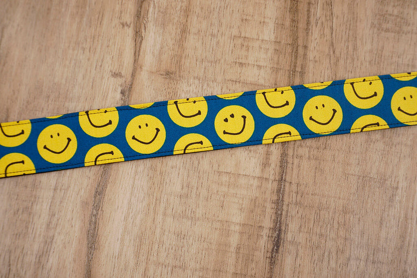 yellow smiley face emoji ukulele shoulder strap with leather ends-5