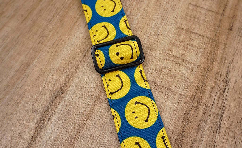 yellow smiley face emoji ukulele shoulder strap with leather ends-6