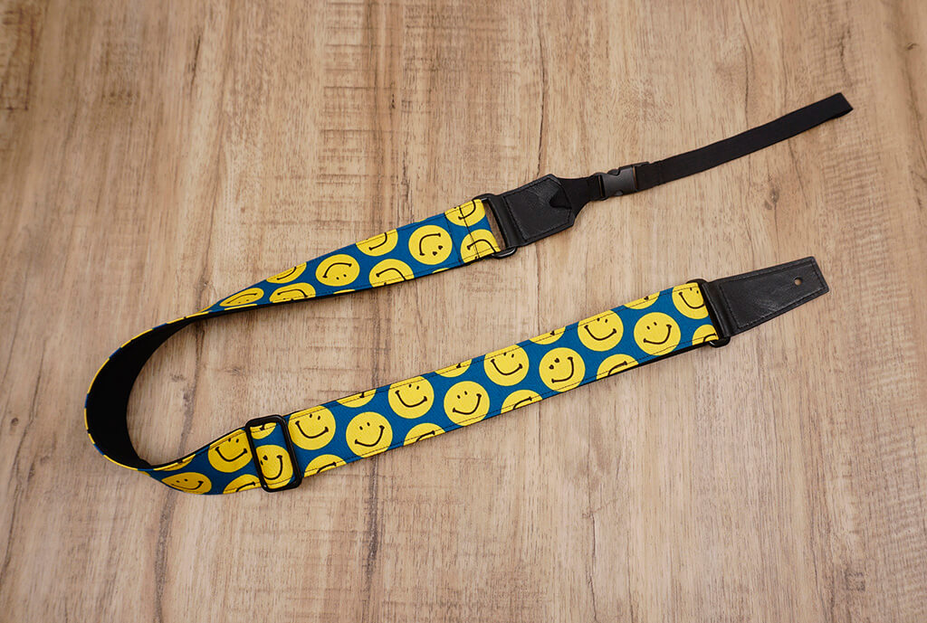 yellow smiley face emoji ukulele shoulder strap with leather ends-7