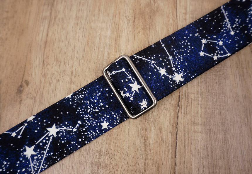 personalized star grow in the dark guitar strap with leather ends-5
