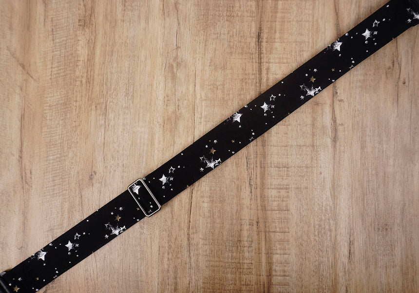 star on black guitar strap with leather ends-4