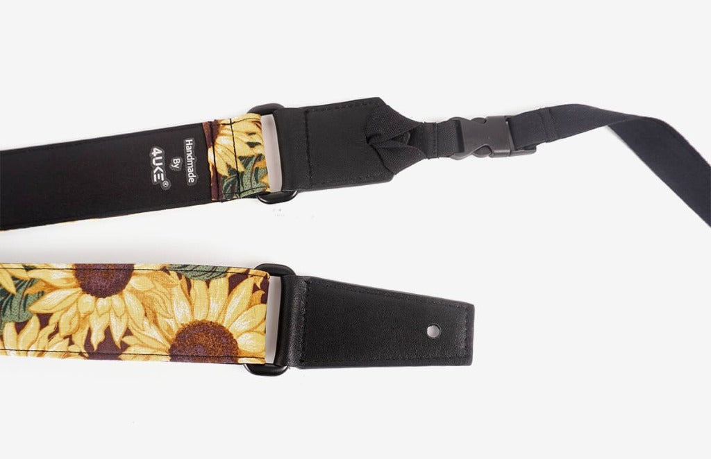 sunflower leather ends ukulele shoulder strap-detail-1