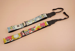 colourful sunflower ukulele shoulder strap with leather ends-2