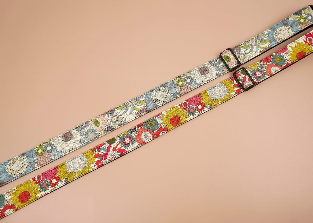 colourful sunflower ukulele shoulder strap with leather ends-4