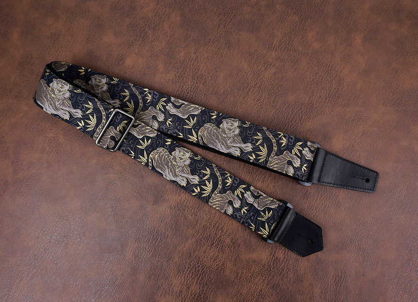 tiger and bamboo guitar strap with leather ends-3
