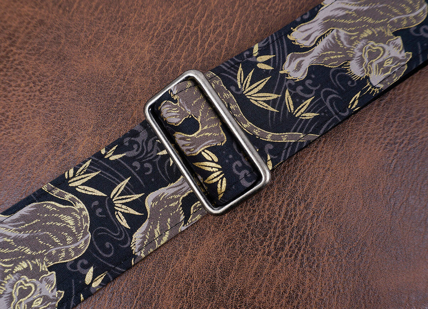 tiger and bamboo guitar strap with leather ends-5