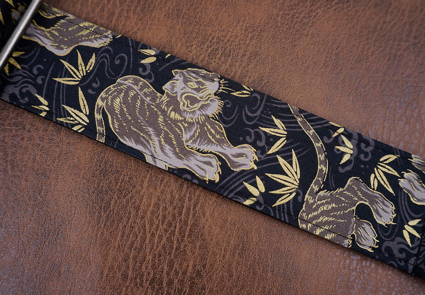 tiger and bamboo guitar strap with leather ends-6