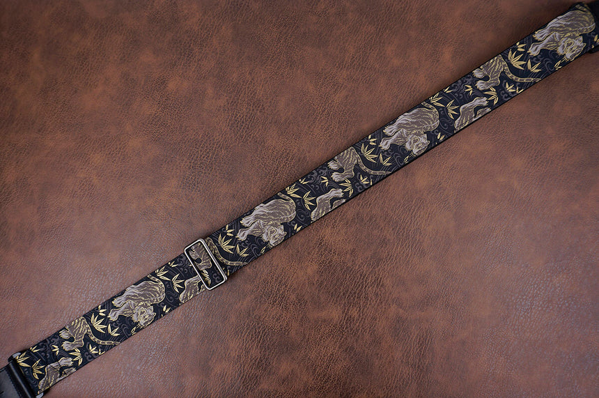 tiger and bamboo guitar strap with leather ends-7