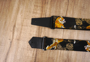 tiger guitar strap with leather ends-3