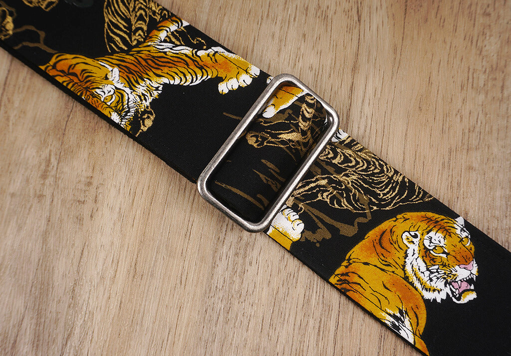 tiger guitar strap with leather ends-6