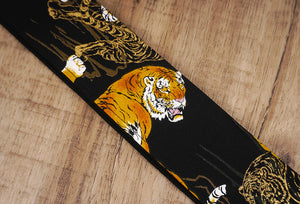 tiger guitar strap with leather ends-7