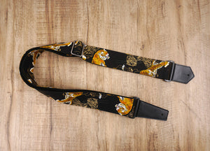 tiger guitar strap with leather ends-8