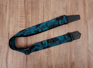 universe space guitar strap with leather ends-2