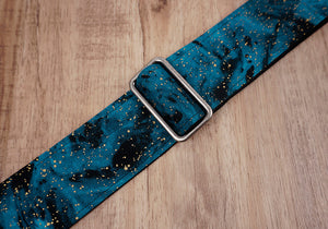 universe space guitar strap with leather ends-3