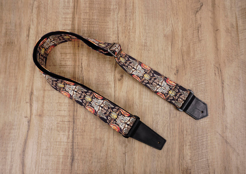 vintage bird guitar strap with leather ends-1