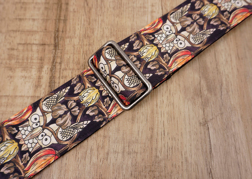vintage bird guitar strap with leather ends-3