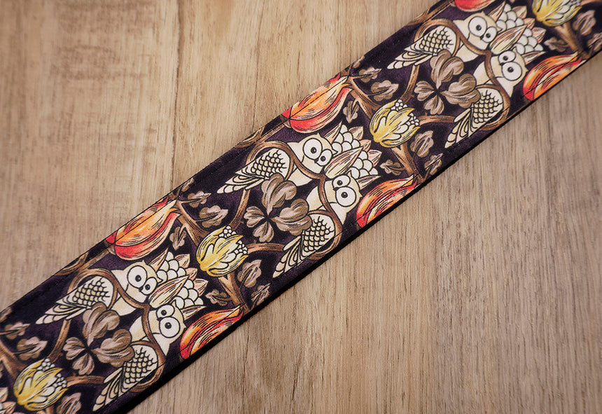 vintage bird guitar strap with leather ends-4