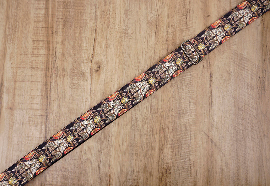 vintage bird guitar strap with leather ends-5