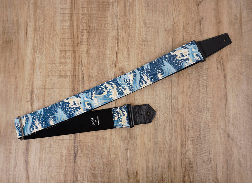 waves guitar strap with leather ends-3
