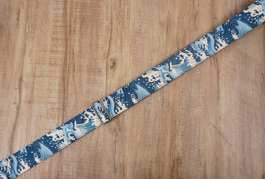 waves guitar strap with leather ends-5