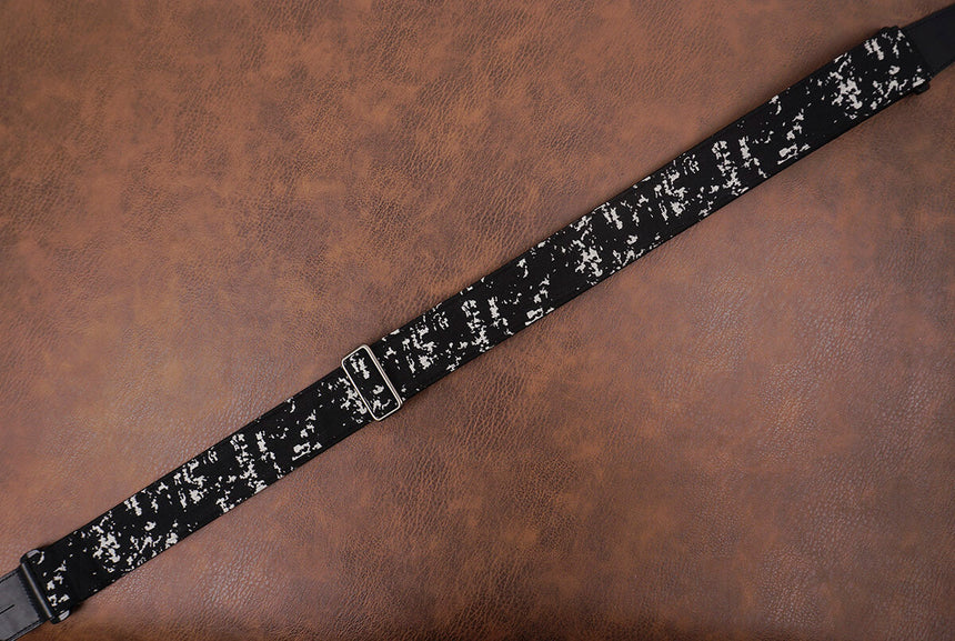 white spot jacquard guitar strap with leather ends-5